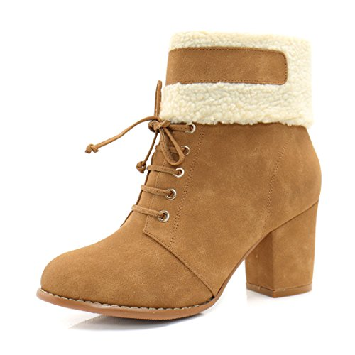 Allegra K Women Plush Trim Chunky Heel Lace Up Decor Booties Camel (Size US 7.5) (Trim High Heel Suede Fur)