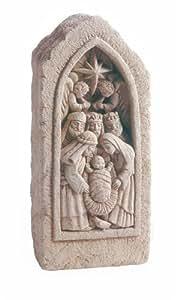 Carruth Studio Nativity Stone Wall Plaque, Natural Stone, Cast Stone, Small