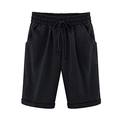 Pleated Bermuda Shorts (Gooket Women's Casual Elastic Waist Knee-Length Curling Bermuda Shorts Black Tag 4XL-US 12)