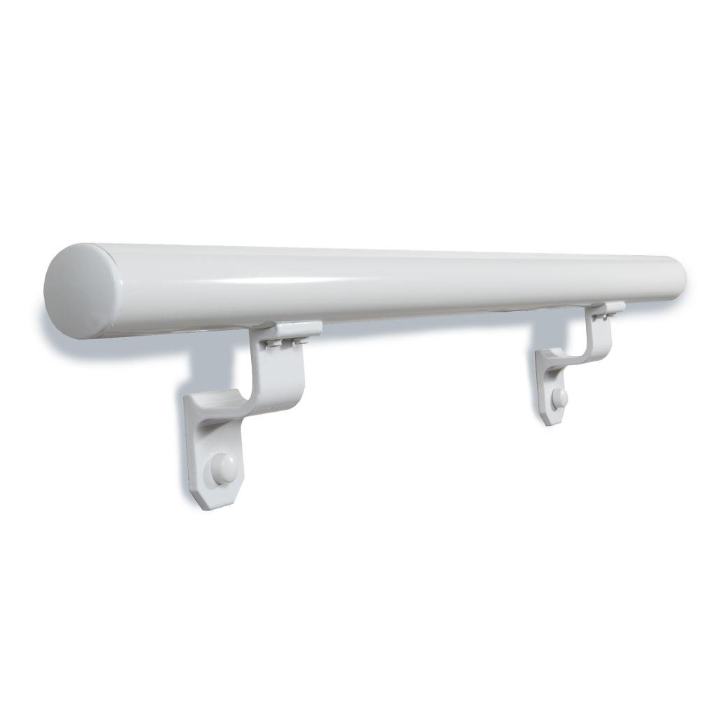 1.9'' Round x 3 ft. White Aluminum ADA Handrail Kit - Includes 2 wall brackets