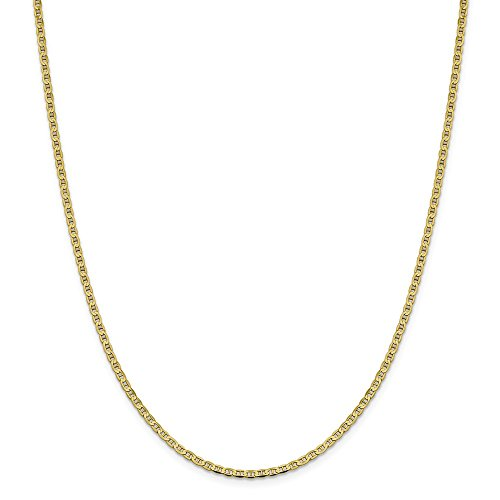 Anchor Chain Flat Gold - Solid 10k Yellow Gold 3mm Flat Anchor Mariner Chain Necklace 16