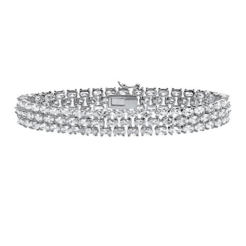 Oval White Cubic Zirconia Rhodium-Plated .925 Sterling Silver Tennis Bracelet 8.5'' by Lux