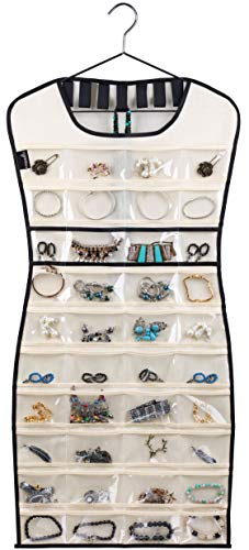 (MISSLO Hanging Jewelry Organizer 80 Clear Pockets & 7 Hook Loops Storage for Storing Jewelries, Earrings, Necklaces, Makeups, Hair Accessories Organizers in Closet, Travel, RV)