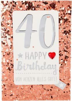 Tarjeta de felicitación de cumpleaños con purpurina 100 ...