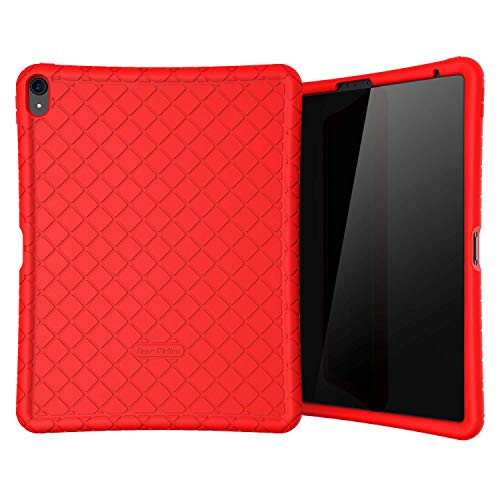 Bear Motion Silicon Case for iPad Pro 2018 Shockproof Silicone Protective Cover (Does NOT Support Apple Pencil 2 Charging) (iPad Pro 11 2018, Red)