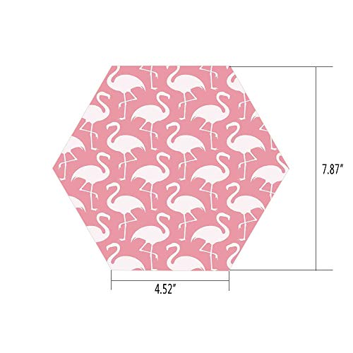Hexagon Wall Sticker,Mural Decal,Flamingo,Exotic Flamingo Pattern Silhouette in Monochrome Modern Style Artwork Print,Pink and White,for Home Decor 4.52x7.87 10 Pcs/Set ()