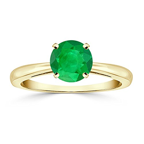 4 Prong Round Gem (18K Yellow Gold Round-Cut Green Emerald Gemstone Solitaire Engagement Ring 4 prong (3/4 cttw)Size 7)