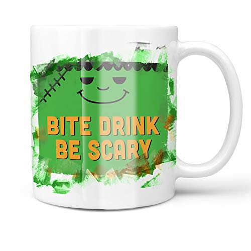 Neonblond 11oz Coffee Mug Bite Drink Be Scary Halloween Frankenstein with your Custom Name ()