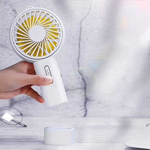FuriGer Handheld Personal Fan, Portable Mini Hand Fan with USB Rechargeable 3 Speed Adjustable Air Cooler Rotation Cooling Fan, Desk Fan Electric for Outdoor Sport Household Traveling Camping-White by FuriGer (Image #4)