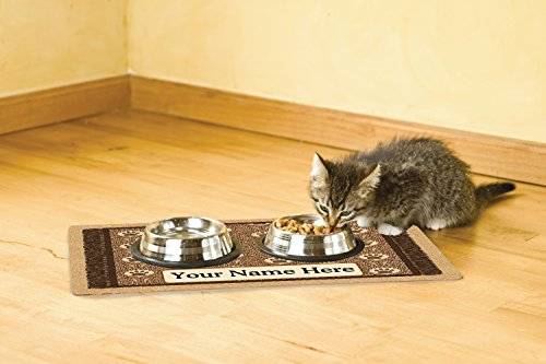 Drymate Personalized Pet Place Mat - Brown Paw Braid - Personalized Pet Food Mat (Medium - 12'' x 20'') by Drymate (Image #2)