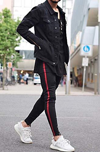Roter Jeans Unbekannt Streifen Schwarz Uomo qXRxx06