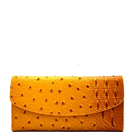 Ostrich Slim Wallet - Ostrich Print Embossed Soft PU Leather 15-Card-Slot Slim Trifold Wallet with Checkbook Holder
