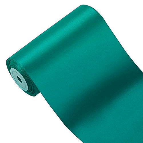 LaRibbons 4 inch Wide Solid Color Double Face Satin Ribbon Great for Chair Sash- 5 Yard/Spool (347 Teal)