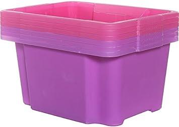 Color kéter y rosados 30L plástico 6 unidades apilar cajas nido.: Amazon.es: Bricolaje y herramientas