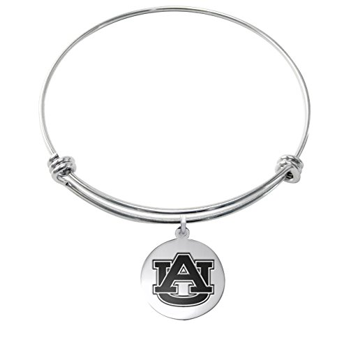 ess Steel Adjustable Bangle Bracelet with 17mm Round Charm (Auburn Tigers Womens Stainless Steel)