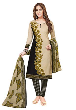 - Muhenera Women's Black & Beige Synthetic Printed Salwar Suit Dress Material (Unstiched) with Dupatta