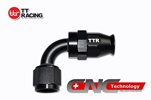 AN-6 6AN AN6 90 Degree PTFE Reusable Swivel Fitting Hose End Grade A Black by TT Racing