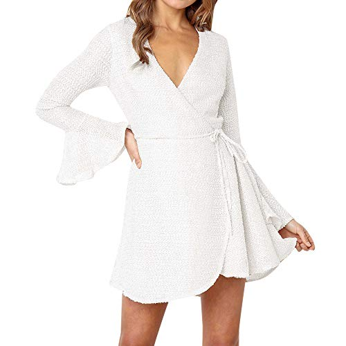 Women's Casual Long Sleeve Wrap Front Dress Fashion Ball Sleeve Ruched Swing Shift Mini Dresses (XL, White)
