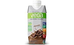 Vega Protein+ Ready to Drink Protein Shake, Chocolate, 11floz, 12 Count