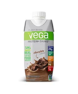 Vega Protein+ Ready to Drink Protein Shake, Chocolate, 11floz, 12 Count