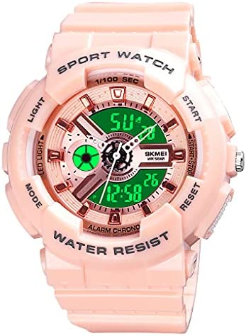 Womens Digital Sports Watch Large Face Sports Outdoor Waterproof Military Chronograph Wrist Watches for Women with Date Multifunction Tactics LED Army Stopwatch