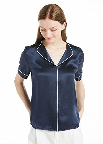 LILYSILK Bulsa Mujer de Seda Colores Contrastes - Camisa de Seda 100% Seda de Mora Natural 22MM, Super Cómodo y Transpirable Negro