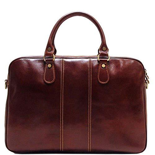 (Floto Venezia Slim Leather Laptop Briefcase in Brown)