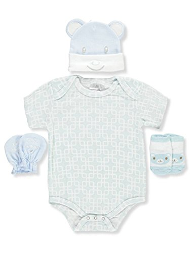 Petite L'Amour Baby Big Boys' 4-Piece Layette Gift Set - Blue, one Size