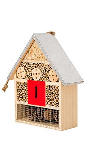 Hanging Insect House for Gardens ~ Perfect habitat for ladybugs(Ladybirds), lacewings, butterfly, mason bees, solitary, leaf cutter & many other beneficial insects ~ Includes bonus rope hanger.