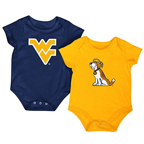 Colosseum NCAA Short Sleeve Bodysuit 2-Pack-Newborn and Infant Sizes-West Virginia Mountaineers-3-6 Months