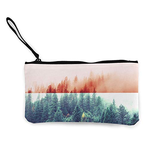 Indonesia Flag With Forest Coin Purse Travel Makeup Pencil Pen Case With Handle Cash Canvas Zipper Pouch 4.7