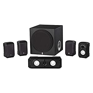 Surround sound set with small speakers and subwoofer box