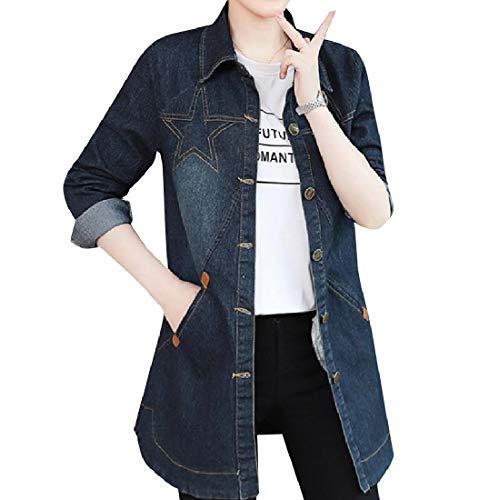 Blue Slim Size Long Dark Coat Trench Jacket Outwear Plus Casual Women's Mid Mogogo xYawT7qY