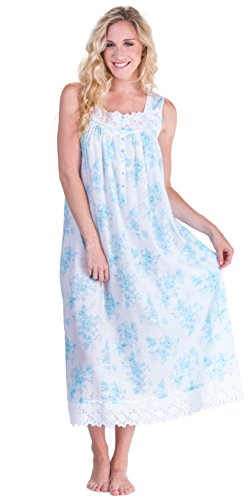 Eileen West Peignoir Set - White Floral Cotton Gown & Robe in Aerial Bouquet (White/Turquoise Floral, Medium) by Eileen West (Image #2)