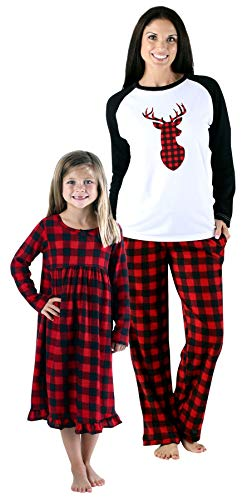 SleepytimePjs Holiday Family Matching Fleece Deer Plaid Pajama PJ Sets-Womens (STMF-5007-W-MED)