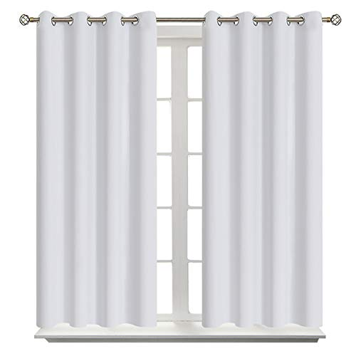 BGment Blackout Curtains - Grommet Thermal Insulated Room Darkening Bedroom and Living Room Curtains, Set of 2 Curtain Panels, 52 x 54 Inch, Greyish White (Grommet Curtains Small)