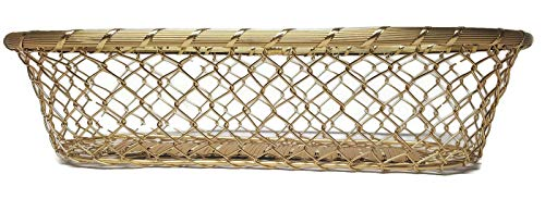 (LL Imports Chain Link Metal Large French Bread Basket, Storage Basket, Centerpiece, 17 inch (Gold))