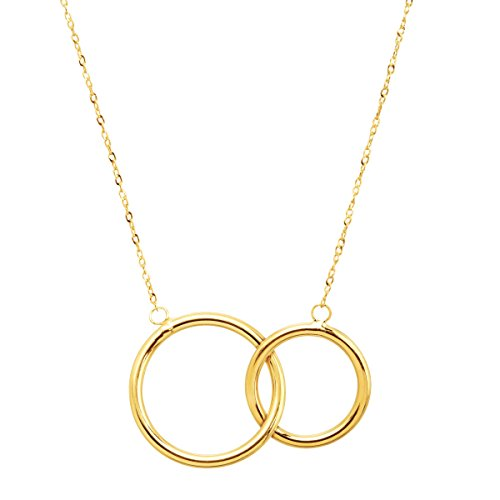 - Eternity Gold Interlocking Rings Necklace in 10K Gold