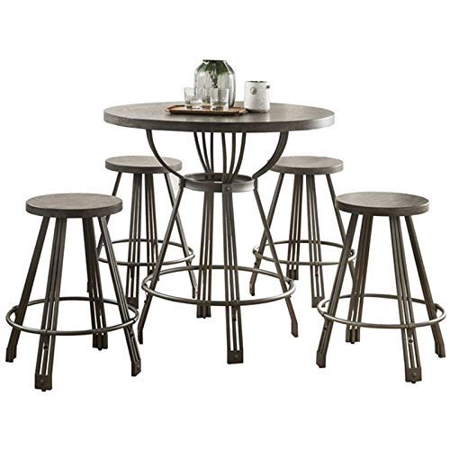 ACME Furniture 71885 Davin 5 Pieces Pack Counter Height Set Gray Oak and Gunmetal