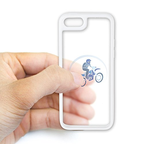 - iPhone 5C Case White and Clear Motocross MX Flying Dirt Bike in Blue