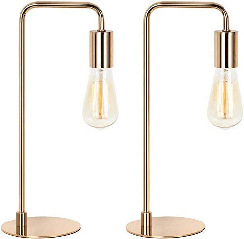 HAITRAL Modern Table Lamps Set of 2 Bulb Not Included Rose Gold Industrial Bedside Desk Lamps Vintage for Bedroom Office Living Room