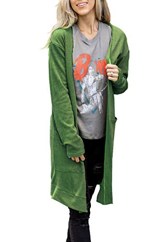 BOSSAND Women Long Sleeve Open Front Lightweight Knit Long Cardigan Knitted Maxi Sweaters Coat Outwear with Pockets (Green, Small)