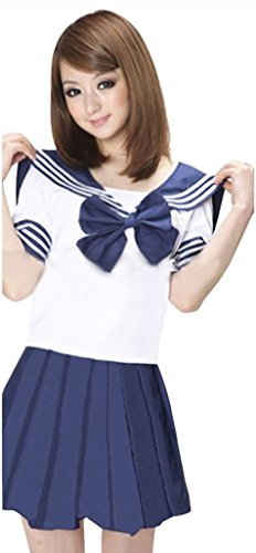 Anime Cosplay Costumes Sailor Moon (Aoibox Women's School Uniform Sailor Dress Sailor Suit Cosplay Costume)