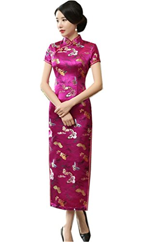 Shanghai Story Chinese Traditional Dress Long Cheongsam China Qipao 12 Rose Red by Shanghai Story