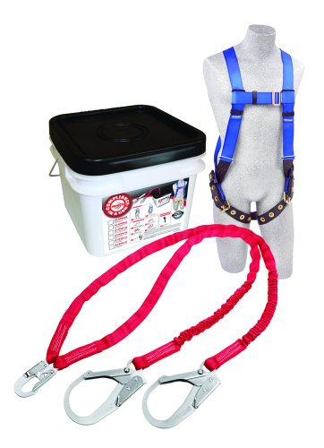 3M Protecta Compliance In A Can Light, 2199817 Roofers Kit, Full Body Harness, Twin Leg Shock Absorbing Lanyards w/ Rebar Hooks, White Bucket