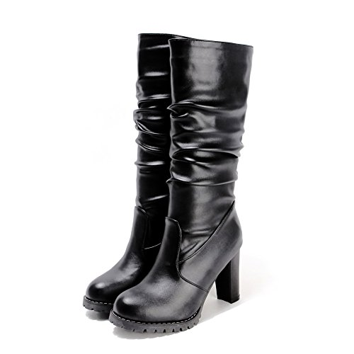 Round Platform Imitated Heels Boots Toe Chunky Black AdeeSu Leather Solid Ladies qg4ZxIw