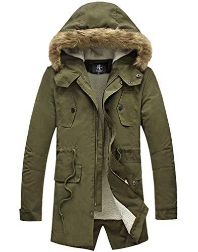 NITAGUT Men's Hooded Faux Fur Lined Warm Coats Outwear Winter Jackets (L, Army Green) ()