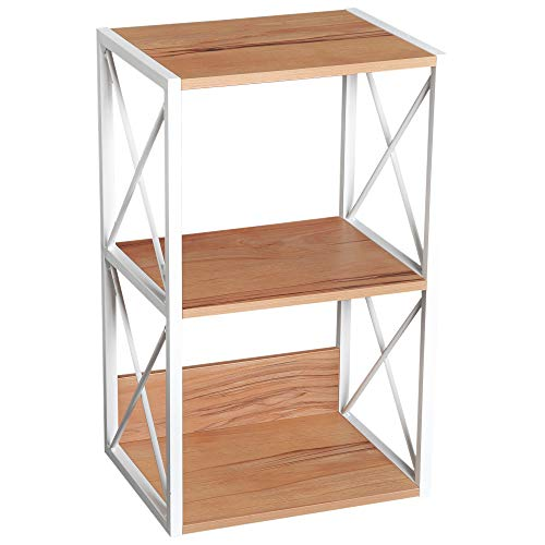 HOMCOM 3 Tier Freestanding Storage Shelf Utility Rack Wood Home Organizer Display Stand Living Room End Table - Light Beech/White