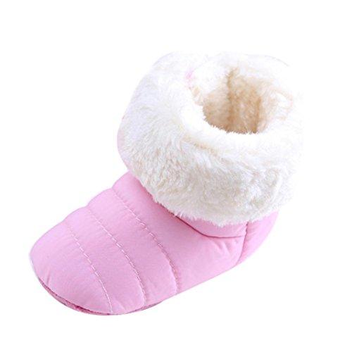 Tefamore zapatos bebes sneaker de primeros pasos de antideslizante de sole suave de moda invierno de calentar de además de terciopelo Rojo