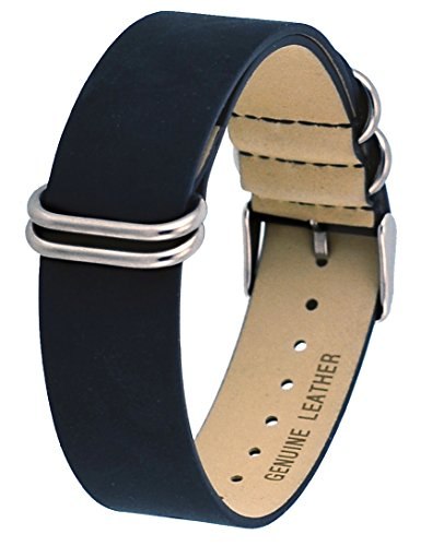 Rev ITAL208 18mm, 20mm, or 22mm Black, Camel, or Natural Brown Genuine Leather Nato Slip-Thru Replacement Strap (20 mm, Black) Genuine Leather Slip